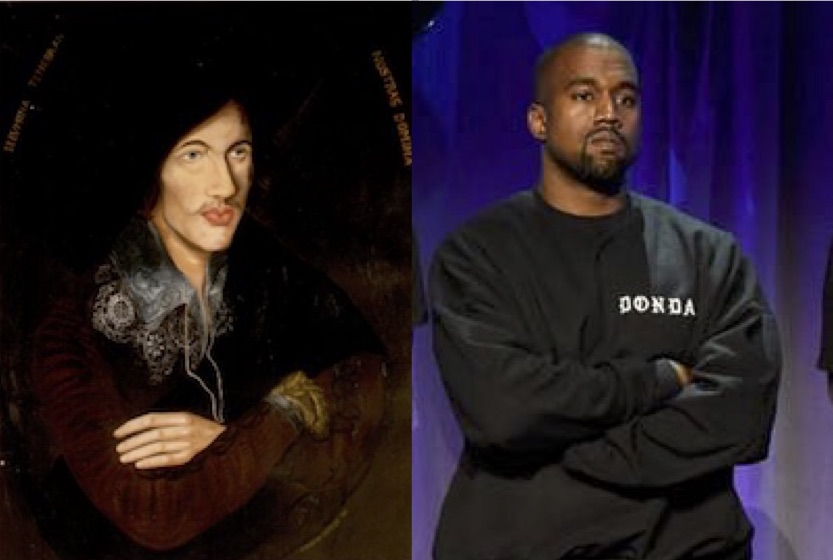John Donne, left; Kanye West, right