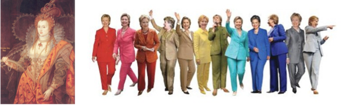 "Left, ""Rainbow Portrait""; right, ""Pantsuit Rainbow"""