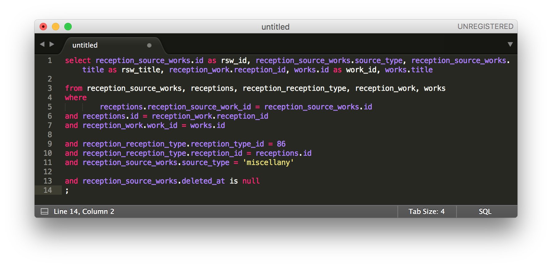 Screenshot of SQL query in Sublime Text